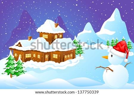 vector illustration of snowman wishing Merry Christmas - stock vector