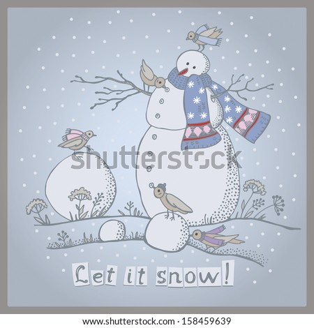 Vector illustration of snowman with birds