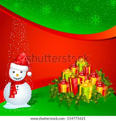 vector illustration of snowman with colorful Christmas gift - stock vector