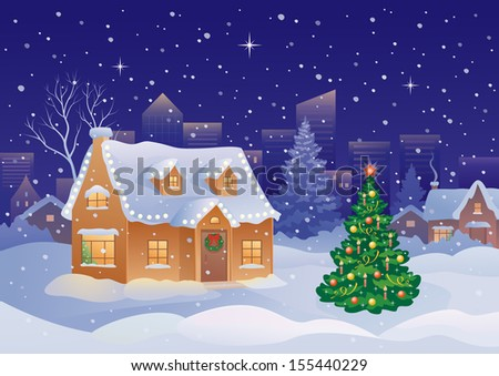 Vector illustration of snowy xmas holiday decorated suburban homes and tree at night - stock vector