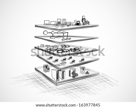 Vector Illustration of SOA with different layer components like Presentation, business process, Service component, message and legacy, enterprise application layer?? sketch, pencil drawing - stock vector