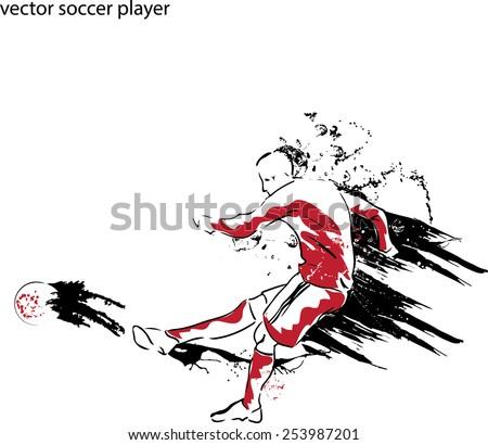 vector illustration of soccer player kicking soccer ball - stock vector