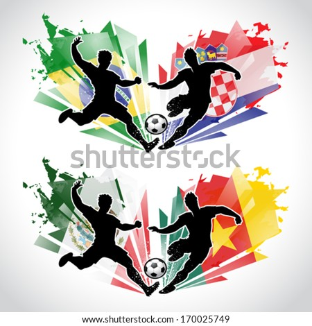 Vector illustration of soccer players representing different countries while tackling the ball - stock vector