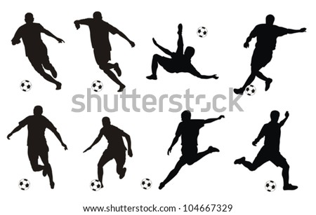 Vector illustration of soccer players silhouettes - stock vector