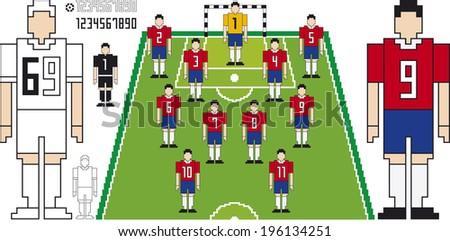 Vector Illustration of Soccer Tactical Kit of Chilean Team - stock vector