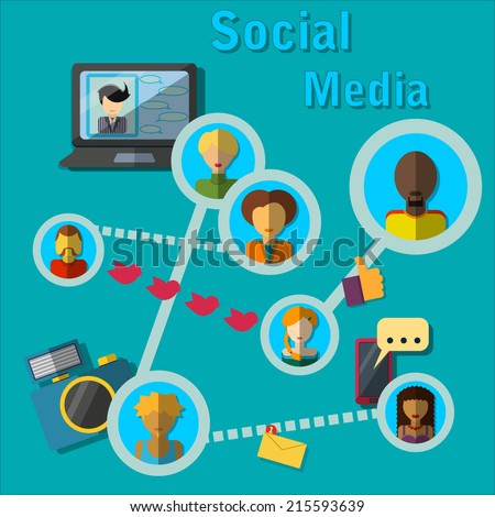 Vector Illustration of Social Media Concept for Design, Website, Background, Digital, Web. Infographic Template for communication idea for business - stock vector