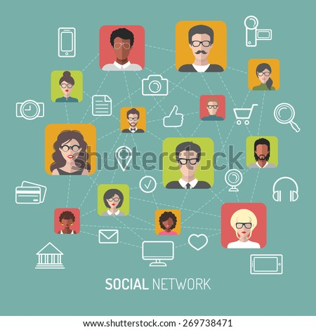 Vector illustration of social network, global people internet connection, people app icons and social media icons in flat style - stock vector