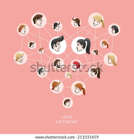 Vector illustration of social network with people heads in the circles creating a love heart.  - stock vector