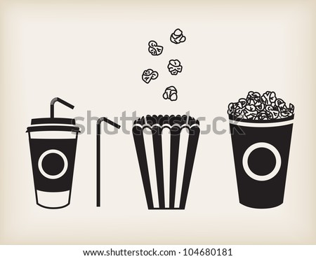 Vector illustration of soda cup, straw and popcorn - stock vector