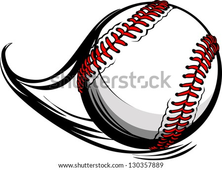 Vector Illustration of Softball or Baseball with Movement Motion Lines - stock vector