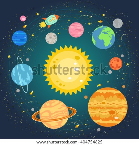 Vector illustration of solar system, planets around sun in flat cartoon style. Poster for children room, education. Solar system composition of the planets, stars, comets, constellations, space ship - stock vector