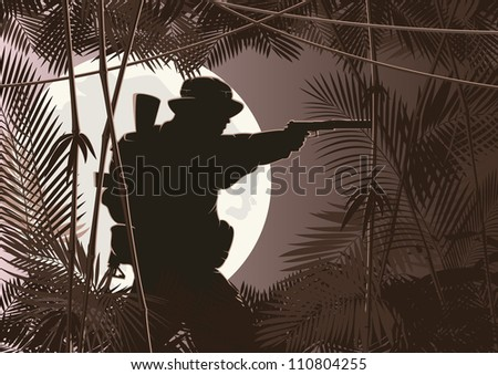 vector illustration of soldier in jungle forest - stock vector