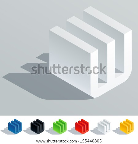 Vector illustration of solid colored letter in isometric view. Cube styled monospace characters. Symbol W - stock vector