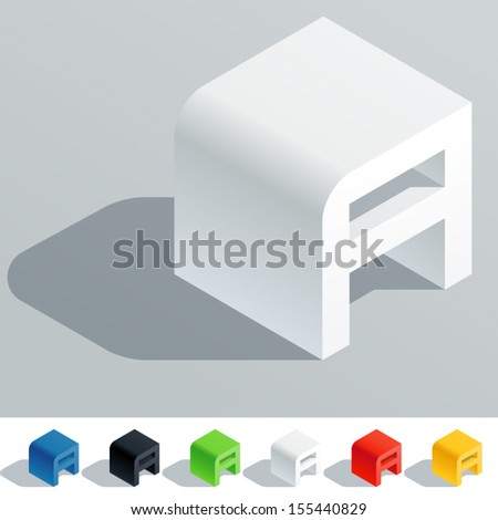 Vector illustration of solid colored letter in isometric view. Cube styled monospace characters. Symbol A - stock vector