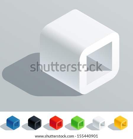 Vector illustration of solid colored letter in isometric view. Cube styled monospace characters. Symbol O - stock vector