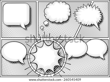 vector illustration of some comic frames as background with speech bubbles