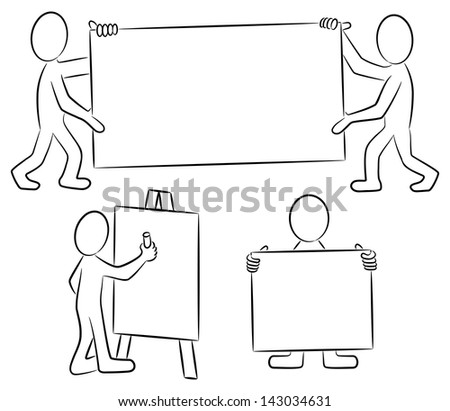 vector illustration of some hand drawn cartoon people with signs in black and white