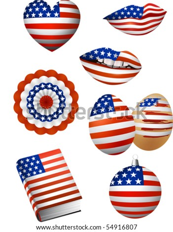 Vector illustration of some patriotic elements, french flag color: lips, christmas bowl, easter egg, book, bunting, heart