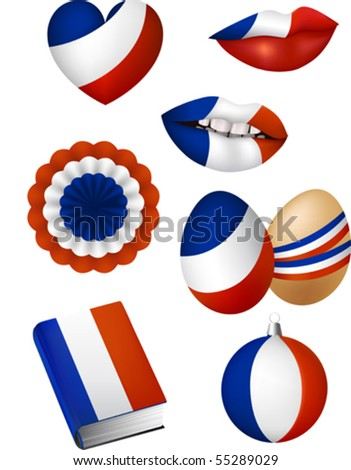 Vector illustration of some patriotic elements, french flag color: lips, christmas bowl, easter egg, book, bunting, heart - stock vector
