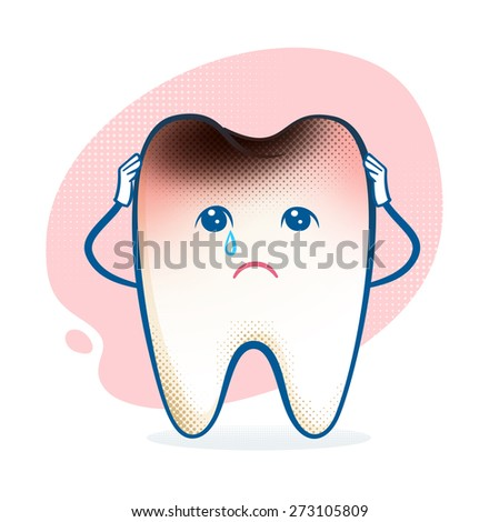 Vector illustration of sorrowful aching tooth character. - stock vector