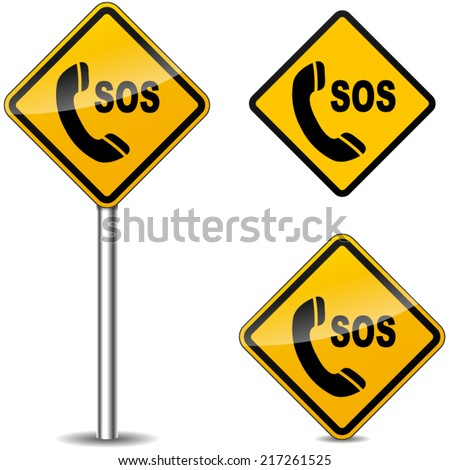 Vector illustration of sos yellow signs on white background
