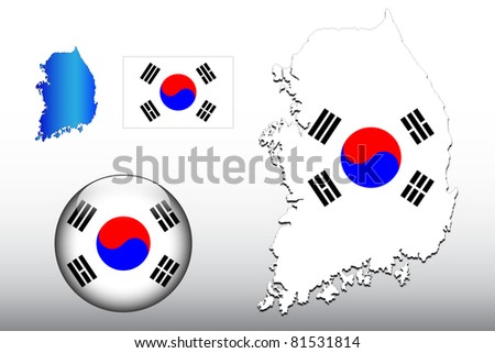 Vector illustration of South Korea map and glossy ball with flag pattern