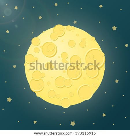 Vector illustration of space background. The starry sky, the moon, craters, bright glow stunning views. Making galactic greeting cards, flyers, banners cartoon comic contemporary style. - stock vector