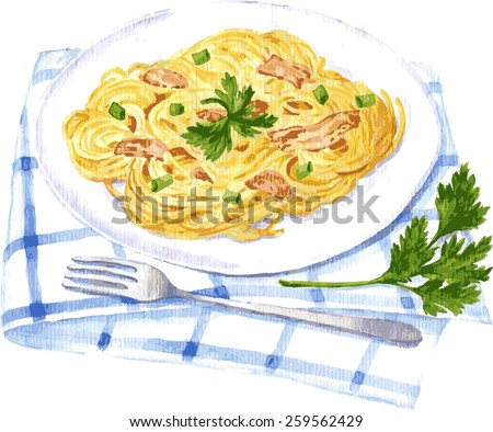 vector illustration of spaghetti carbonara painting by watercolor - stock vector