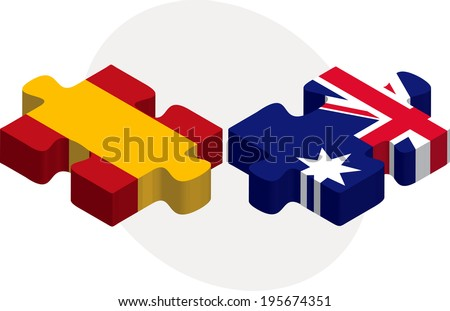 Vector illustration of Spain and Australia Flags in puzzle isolated on white background - stock vector