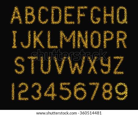 Vector Illustration of Sparkle Font for typography Design, Website, Background, Banner. Alphabet Element Template. Bright Gold Letter - stock vector