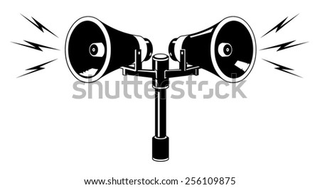 Vector illustration of speakers with an announcement or alarm sounding. Vector Speaker or Alarm. Two industrial Alarm or announcement speakers  - stock vector