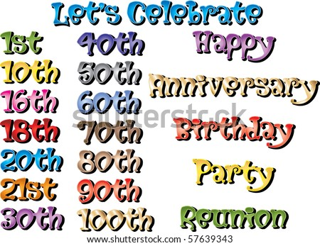 Vector Illustration of Special Birthdays and Occasions. - stock vector