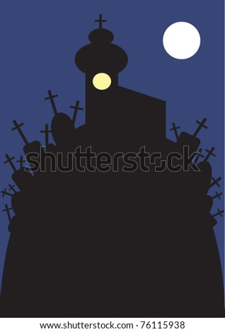 vector illustration of spectral old church and cemetery on the hill at night