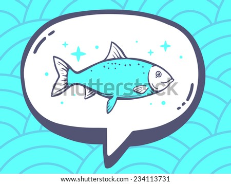 Vector illustration of speech bubble with icon of fish on blue pattern background. Line art design for web, site, advertising, banner, poster, board and print. - stock vector
