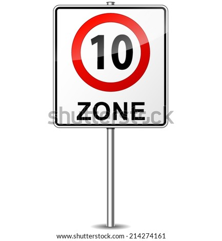 Vector illustration of speed limit zone sign concept