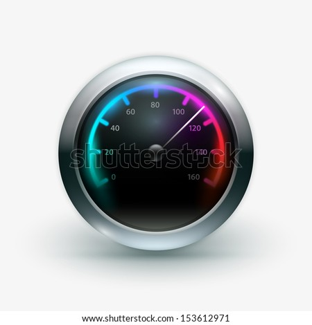 Vector illustration of speedometer. Elements are layered separately in vector file.