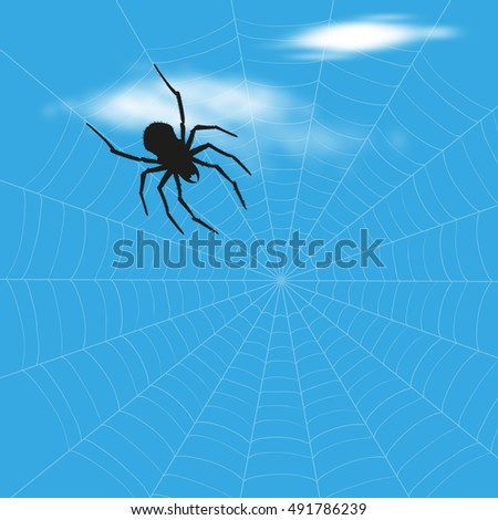Vector illustration of spider on sky with clouds