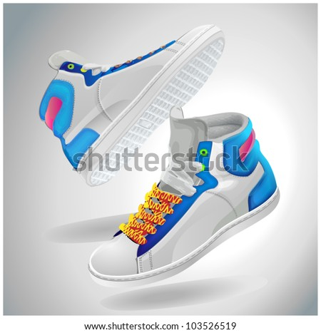 Vector illustration of sport shoes, fly sneakers - stock vector