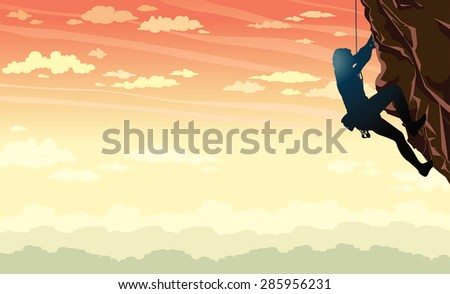 Vector illustration of sport - silhouette of rock climber on a sunset sky background. - stock vector