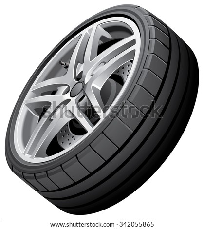 Vector illustration of sports car's wheel, isolated on white background. File contains gradients. No strokes, blends and transparency.  - stock vector