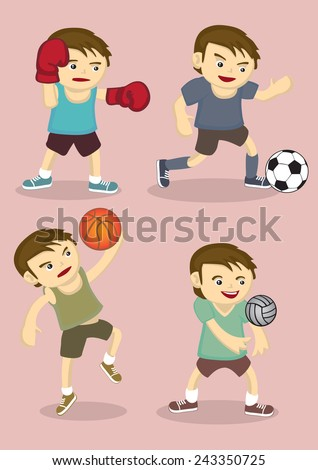 vector illustration of sporty boy playing boxing, soccer, basketball and volley ball isolated on pink plain background - stock vector