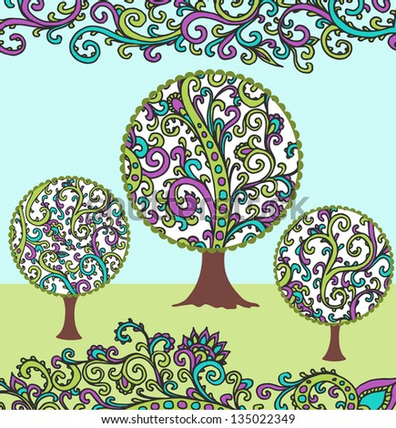 vector illustration of spring garden with ornate trees