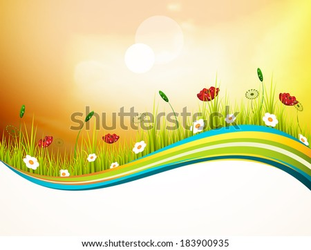 Vector illustration of spring landscape banner.