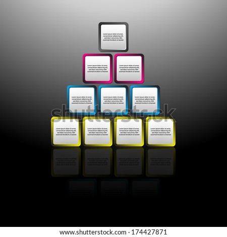 Vector illustration of square pyramid diagram,. Place for customer text or description - stock vector