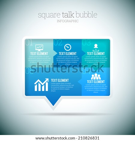 Vector illustration of square talk bubble infographic elements. - stock vector