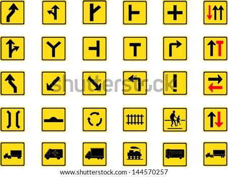 Vector illustration of square yellow road signs collection