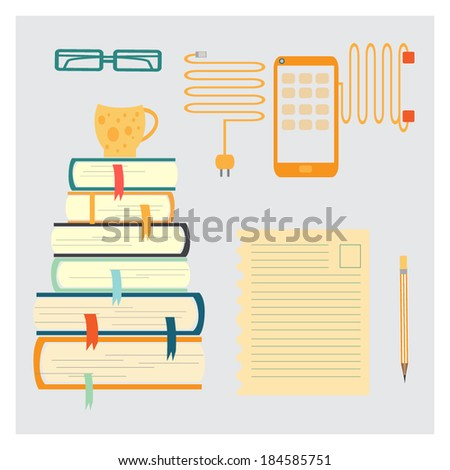 vector illustration of stack of colorful book and telephone - stock vector