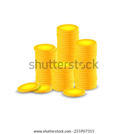 Vector illustration of stack of gold coin against - stock vector