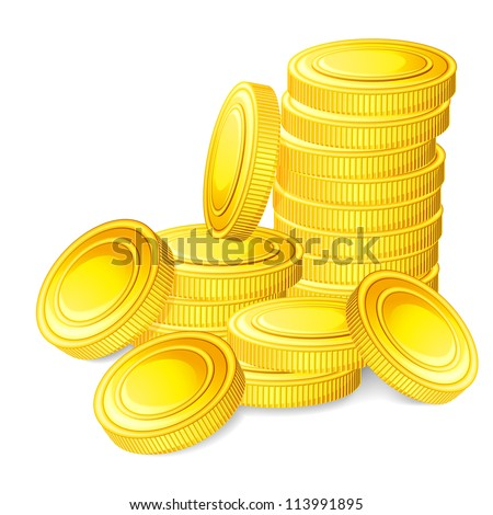 vector illustration of stack of gold coin against white background - stock vector