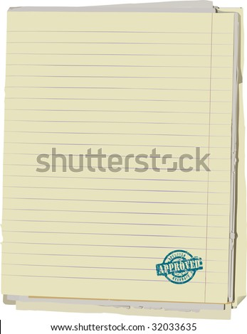 Vector illustration of stack of old lined papers from note book and rubber stamp. Clipping path included to easy remove object shadow or replace background. - stock vector